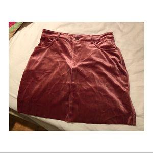Pink Velvet Mini Skirt Size Small